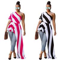 blusa modelos mulheres venda por atacado-Frete grátis 2018 mais recente novo modelo curto frente longo voltar top blusa mulheres nova moda verão stripe plissado um ombro peplum topos