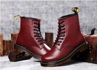 Wholesale shoes holes online - Newest leather boots ankle Style Genuine Leather Boots Shoes Men Women Designer8 holes Retro outdoor Boots Unisex