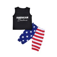 Wholesale sleeveless tops baby boy online - Baby boys American flag print outfits children letter top Star stripes Shorts set Summer kids Clothing Sets C4217