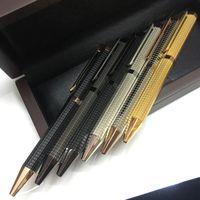 Wholesale red golden pen resale online - Famous Pen Gift Pen Metal Golden rosegolden silver black checkered red wood box Ballpoint Pen Classical luxury A P