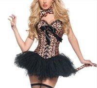 corsets léopard achat en gros de-Burlesque léopard impression cosplay vêtements corset overbust sexy et dentelle tutu jupe serre-taille carnaval bustier S-2XL