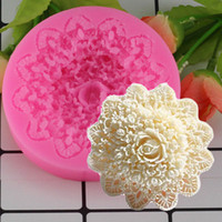 Wholesale lace molds - Mujiang Rose Flower Lace Silicone Mold Wedding Fondant Cake Decorating Moulds Chocolate Candy Molds 3D Craft Soap Moulds