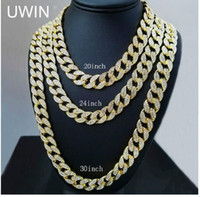 Wholesale iced out chains resale online - classic Full Diamond Cuban Necklace inch inch inch inch Bling Jewelry Necklace for Men Iced Out Miami Curb Cuban Link Chain