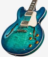 335 guitarra de bordo venda por atacado-2018 Memphis 335 semi oco figurado Aquamarine Jazz Guitarra Elétrica Flame Maple Top Side Voltar, Little Pin ABR-1 Bridge, Bloco Embutimento