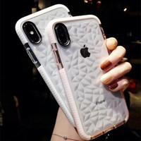 marca híbrida de iphone al por mayor-El más nuevo caso transparente del teléfono móvil del diseño del patrón del diamante para el iPhone 6 7 8 Plus X caso de la cubierta protectora anti-choque híbrido TPU para la marca T21