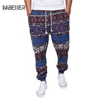 etnik giyim erkek toptan satış-NIBESSER Etnik Pantolon Erkekler Baskılı İpli Jogger Pantolon Pamuk Keten Rahat Sweatpants Giyim Artı Boyutu Elastik Pantolon