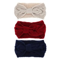 banda de pelo de ganchillo bebé al por mayor-Niños Niñas Mujeres Diademas Invierno Giro Crochet Head Wrap Cute Party Headwear Warm Knit Bow Hair Band Accesorios para el cabello del bebé