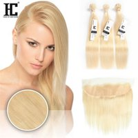Wholesale Hair Color 613 - HC Brazilian Virgin Hair 613 Blonde Straight Human Hair Weave 3 Bundles With Lace Frontal 13*4 Ear To Ear Lace Frontal With Baby Hair