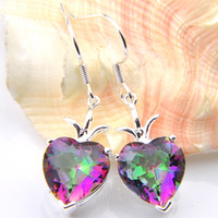Wholesale rainbow dangle earrings - New products Free Shipping- 2pairs Valentine's Day Lucky Shine Heart Rainbow Mystic Topaz Gems 925 Sterling Silver Plated Drop Earrings