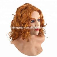 ingrosso lattice femminile del fronte-Maschera sexy del lattice della maschera del lattice della ragazza del film realistico femminile adulto della donna con i capelli scarlatti
