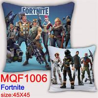 Wholesale custom case print - Around The Game The Fortnite Pillow Custom Heat Transfer Square Pillow Sofa Cushion Satin Weave Pillows Case 14my gg