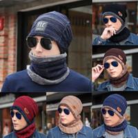 Wholesale 11 colors Autumn and winter hat men hats knit wool cap plus velvet thickening cap hat collar sets