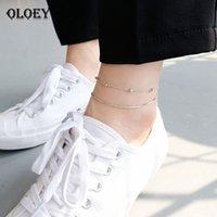ingrosso braccialetto d'argento doppio collegamento-OLOEY doppio strato perline braccialetto alla caviglia in argento 925 gioielleria raffinata per le donne alla moda catena di collegamento serpente cavigliere trasporto di goccia YMA003 S18101607