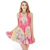 одевает молодых оптовых-Женщины развевающиеся платье красивая молодая девушка мультфильм 3D печати девушка эластичный повседневная плиссированные зонтик платья Леди юбка без рукавов (RLSkd1203)