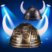 Wholesale viking beanie resale online - Helmet Devil Vikings Cap Ox Horn General Hats Christmas Beanie Costume Ball Pvc Plastic Casquette Christmas Decoration wy gg