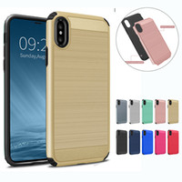 Wholesale Mint Brushes - Hybrid Brushed Case 2 in 1 Dual Layered Defender Armor Case Cover For iPhoen X 8 7 6 6S Plus 5 5S SE Sumsung Note8 S9 S8 S7 Plus