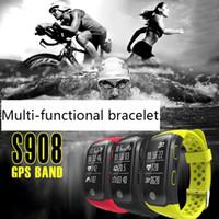 браслеты для батареек оптовых-Dropshipping IP68 Bluetooth GPS светодиодный дисплей Спорт датчик фитнес браслет смарт шаг трекер шагомер с батареей