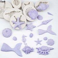 ingrosso stampi di stella-3D Mermaid Tail Stampi in silicone Shell Starfish Sapone Stampo Decorazione torta Strumenti artigianali per zucchero Stampi candela Stampi per fonderia artigianali fai da te