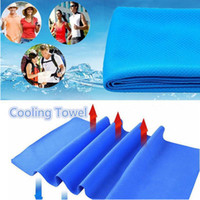 Wholesale cool ice - 90*30cm Ice Cold Towel Outdoor Cooling Scarves Summer Sunstroke Sports Exercise Cool Quick Dry Soft Breathable Cooling Towel GGA122 120PCS
