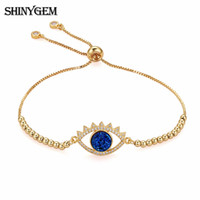or naturel 24k achat en gros de-ShinyGem Big Eye Charm Bracelets Full Strand Plating 24K Or Naturel Multi Couleurs Cristal Druzy Nouvelle Mode Femmes Bracelet 2018