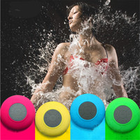Wholesale mic car online - Mini Portable Subwoofer Shower Waterproof Wireless Bluetooth Speaker Car Handsfree Receive Call Music Suction Mic For iPhone Samsung