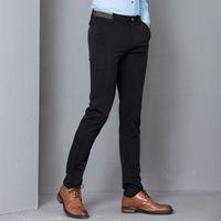 slim costume noir ajusté achat en gros de-Black Stretch Skinny Pantalon Hommes Parti Bureau Formel Mens Costume Crayon Pant Business Slim Fit Casual Pantalon Homme
