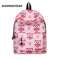 mochilas coruja para meninas venda por atacado-Sacos de escola para crianças meninas mochilas escolares primárias crianças coruja impressão mochilas mochilas infantil sac a dos enfant