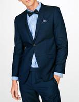 свадебные платья оптовых-Slim business casual suit young men's dance party groomsmen wedding dress 2 piece set shirt pants fashion handsome trend custom