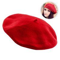 223dbbf844768 Sombrero de mujer de invierno boina de lana femenina mezcla de algodón Cap  otoño marca nueva mujer sombreros gorras negro rojo