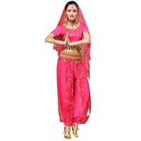 hintli bollywood kostümleri toptan satış-2018 Sari Dancewear Kadınlar Oryantal Dans Kostüm Seti Hint Dans Kostümleri Bollywood Kıyafetler (Üst + kemer + pantolon + peçe + başlık)