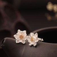 Wholesale 925 China Gold Earrings - New arrival 925 Sterling Silver Earring fashion 14K Gold Retro Lotus Leaf Earrings earpins studs charm wholesale woman jewelry from china