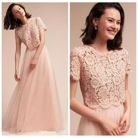 Wholesale lace top long tulle prom dress - 2018 Blush Pink Two Piece Lace Top Short Sleeves Long Bridesmaid Dresses Vintage Lace Top Tulle Custom Maid of Honor Prom Party Gowns Cheap
