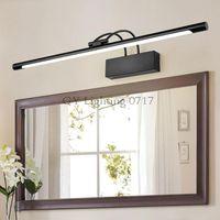 Wholesale toilet mirror light - AC110-240V L45 55 65 75cm LED front mirror lamp black Metal body + acrylic 9 12 14 16W led bathroom toilet wall lighting fixture