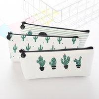 bolsa kawaii caneta venda por atacado-Caixa de lápis Cactus criativo bolsa de lona portátil Carteira Pen dinheiro Stripe Zipper Bolsa de bolso chaveiro presente Pencil Bag Kawaii