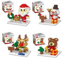figuras de ação de brinquedos de plástico venda por atacado-Blocos de Construção de natal 3D Montagem Papai Noel boneco de neve cervos urso ABS Plástico Em Miniatura Figuras de Ação caixa pacote Para brinquedos Dos Miúdos