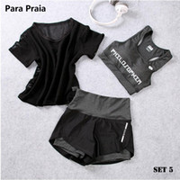 vêtements de sport spandex achat en gros de-Taille haute trois pièces de yoga set vêtements de sport pour les femmes soutien-gorge de sport vêtements de sport femmes shorts de sport gym workout crop top