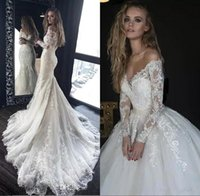 Wholesale mermaid wedding dress sheer shoulders for sale - Group buy Off The Shoulder Lace Mermaid Wedding Dresses Long Sleeves Tulle Applique Sweep Train Wedding Bridal Gowns With Detachable Skirt BA9641