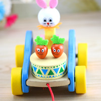 Wholesale dragging toys online - Wooden Baby Toy Animal Tractor Rabbit Dragging With Line Children Kid Early Education Learn To Walk Hot Sale fq V