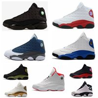 Wholesale high quality cat leather - with box high quality New mens 13 Black Cat Basketball Shoes 13s White women Chicago red XIII Trainer Sneakers