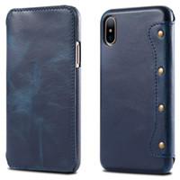 wachs iphone fall großhandel-Luxus echtes Leder Brieftasche für iPhone XS Max Case, Retro Öl Wachs Flip Tasche für iPhone XR XS Max ganze Stück Rindsleder