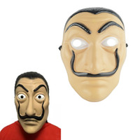 Wholesale men cosplay costume - Cosplay Party Mask La Casa De Papel Face Mask Salvador Dali Costume Movie Mask Realistic Halloween XMAS Supplies HH7-929