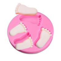 детская обувь оптовых-4 маленькие ноги торт силиконовые формы шоколада формы розовый ребенок сахар торт формы украшения торта плесень DIY выпечки инструмент мыло ручной работы милые формы