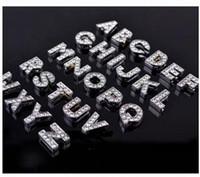 ingrosso filigrana d'ottone placcato argento-Commercio all'ingrosso 26pcs 10mm A-Z pieno di lettere di diapositive di strass fascino Accessori fai da te Fit 10mm Collare dell'animale domestico / Wristband / braccialetto.