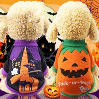 Wholesale hoodies vest clothes for sale - Dog Halloween Pumpkin Costume Small Pet T Shirt Clothes Puppy Cat Vest Apparel Cotton Witches Hoodies Clothes Styles AAA1102