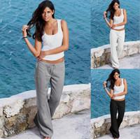 bacaklar toptan satış-Kadınlar Geniş Bacak Yüksek Bel Gevşek Rahat Uzun Pantolon Dize Cep Pantolon Tayt Pantolon Pijama Pantolon 3 Renkler LJJO4142
