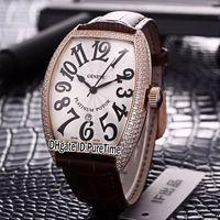 bracelet de diamant marron achat en gros de-Nouveau Casablanca 8880 C DT Or Rose Lunette De Diamant Cadran Argent Japon Miyota 8215 Automatique Hommes Montre Marron Bracelet En Cuir Montres Pas Cher 132c3