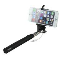 iphone 5s selbstbewusstsein großhandel-Neue Selfie Einbeinstativ ausziehbare Stick Kabel nehmen Pole Handheld Halter w / Remote-Taste für iPhone 6 6Splus / 5S / 5G / 5C SE Palo Selfie