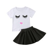бальное платье юбки для девочек оптовых-2pcs Lovely Toddler Girls Outfits Set Shy face Eyes Print T shirt + Ball Gown Skirts 2PCS Set Mini Dress