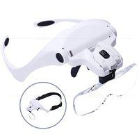 kafa bandı büyüteçleri toptan satış-Ayarlanabilir Büyüteç 1.0X 1.5X 2.0X 2.5X 3.5X5 LED Büyüteç Gözlük ile Lens Kafa Büyüteç Büyüteç Yaratıcı