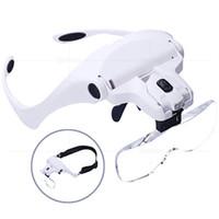 lente de vidro led venda por atacado-Lupa ajustável 1.0X 1.5X 2.0X 2.5X 3.5X 5 Lente Headband Lupa Lupa com LED Lupa Criativo